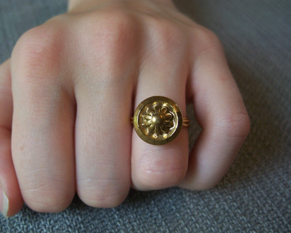 "Image of ""Daisy Gold"" Black Glass Button Ring"