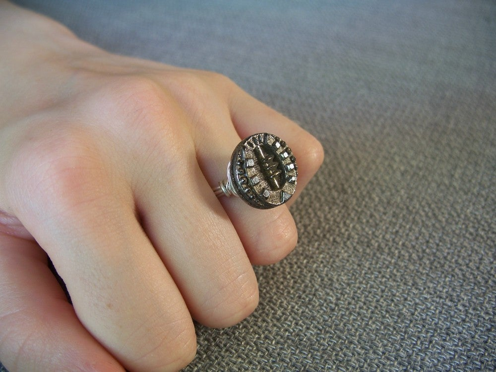 "Image of ""the lucky one"" antique button ring"
