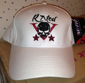 Image of Rated V white fitted baseball cap