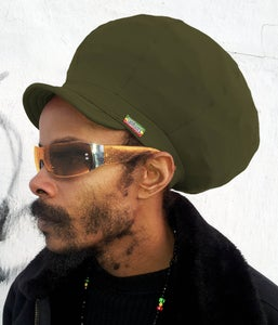 Image of Jah Roots Stretch Hats With Beak (Olive)