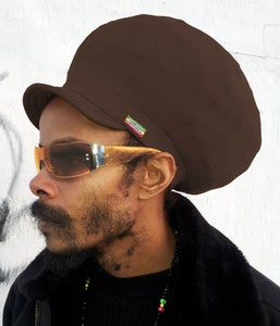 Image of Jah Roots Stretch Hats With Beak (Brown)