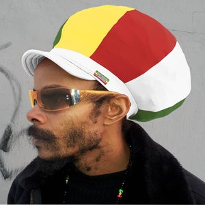 Image of Jah Roots Stretch Hats With Beak (Ital-White, Yellow, Red, & Green)