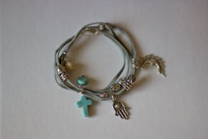Image of Tibetan Charm Suede Bracelet Grey *NEW*
