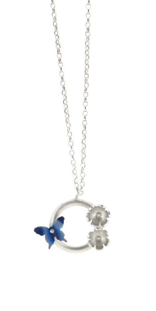 Image of Springtime Butterfly & daisy circlet pendant