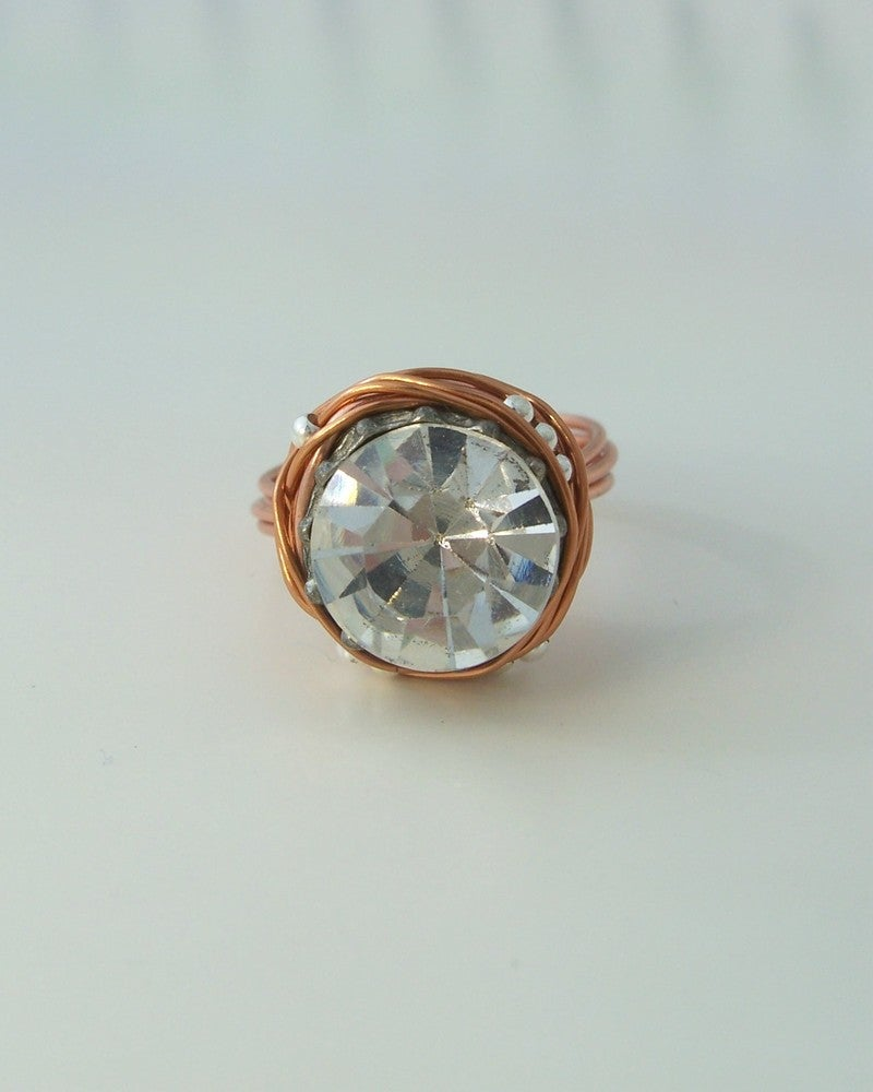 "Image of ""The leading role in copper"" vintage button ring"