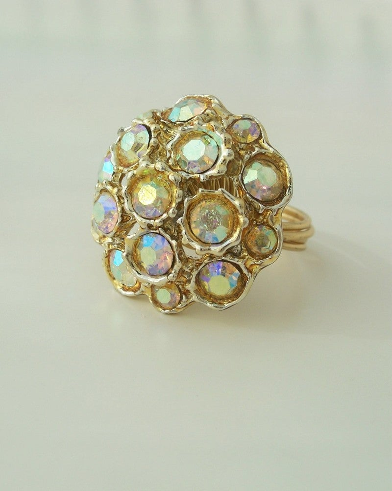 "Image of ""Rainbow Queen"" vintage button ring"