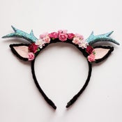 Image of Black Floral Deer Headband