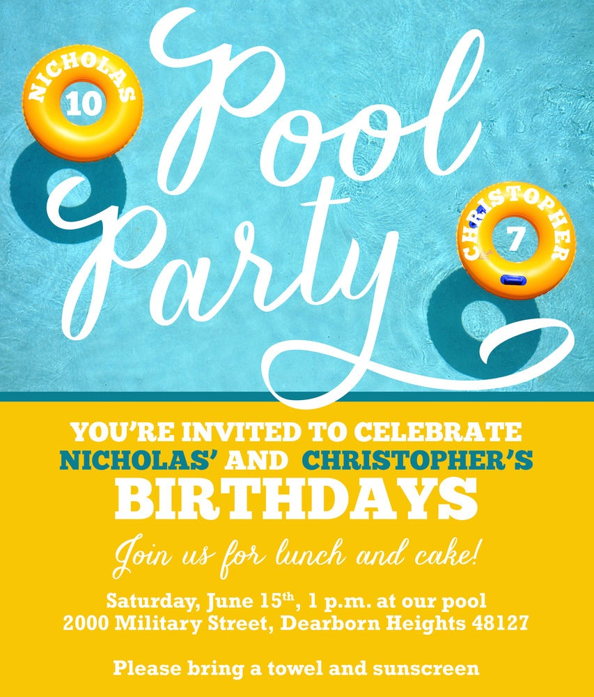Image of Pool Party Invitation