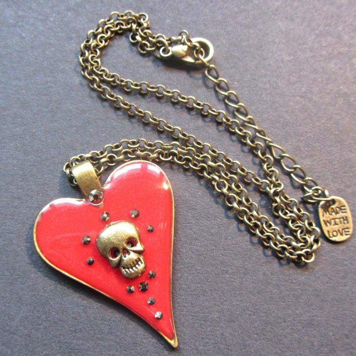 Image of Red Halo Skullie Heart Bronze Pendant