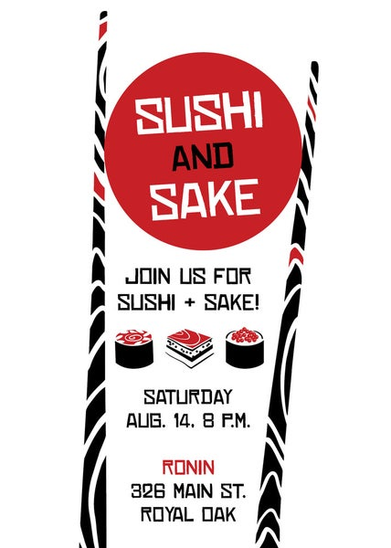 Image of Sushi and Sake Party Invitation