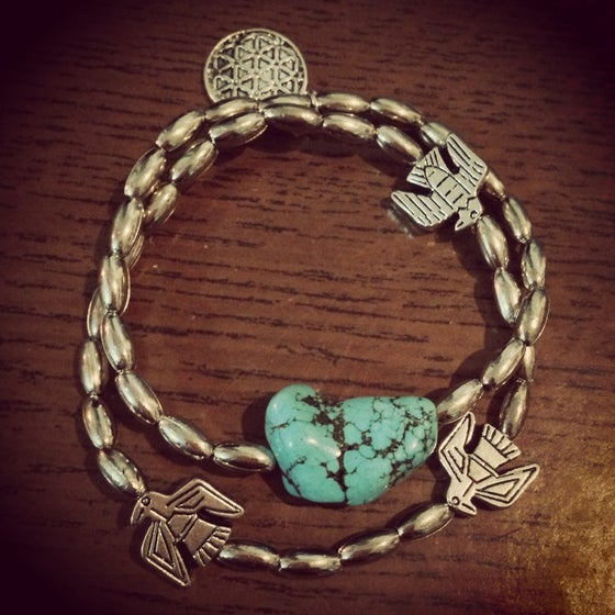 Image of Turquoise rock thunderbird bracelet set