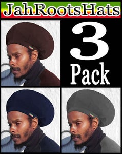 Image of Jah Roots Stretch Hats 3 Pack (Brown, Navy, & Gray)