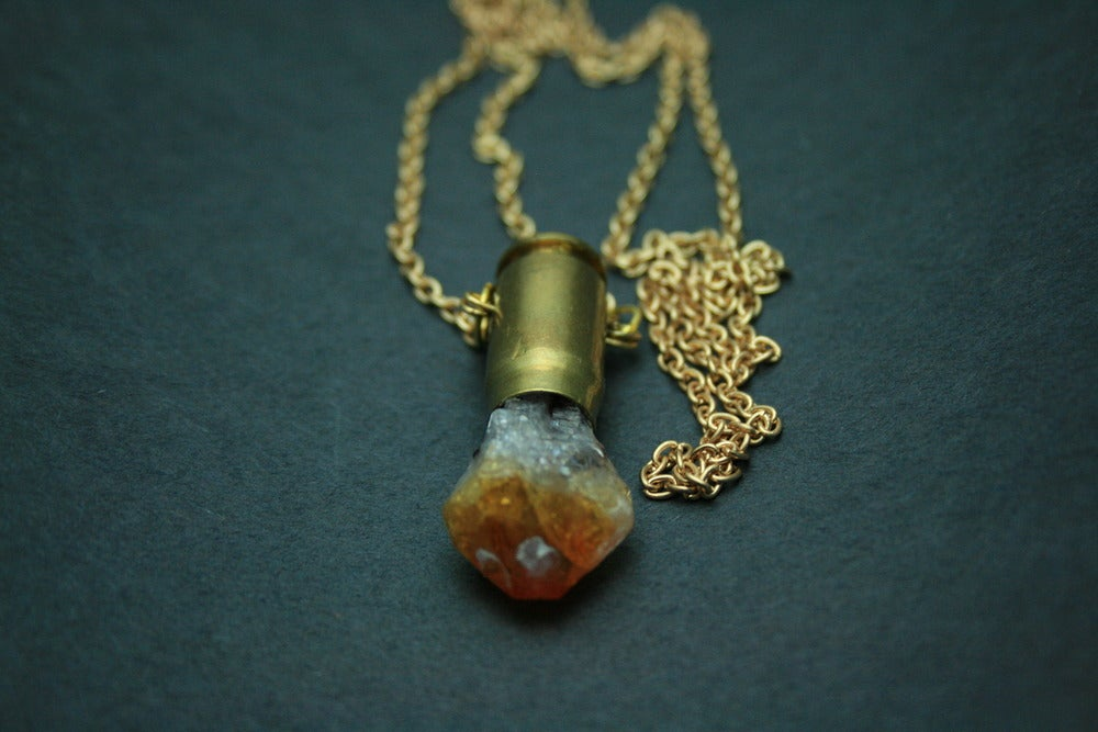 Image of Gold Citrine Bullet Necklace