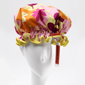 Image of Showercap pink and orange retro flowers - regular size