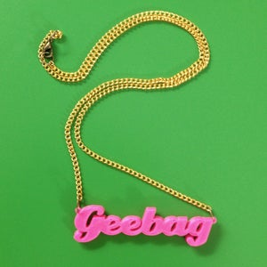 Image of Rude 3D words on a chain of non-precious metal