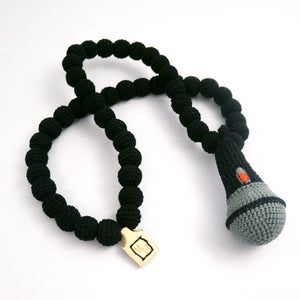 Image of Microphone Crochain - black/grey/red