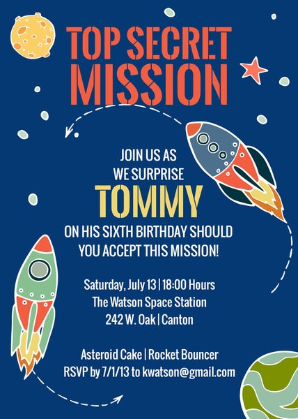 Image of Rocket/Space Party Invitation
