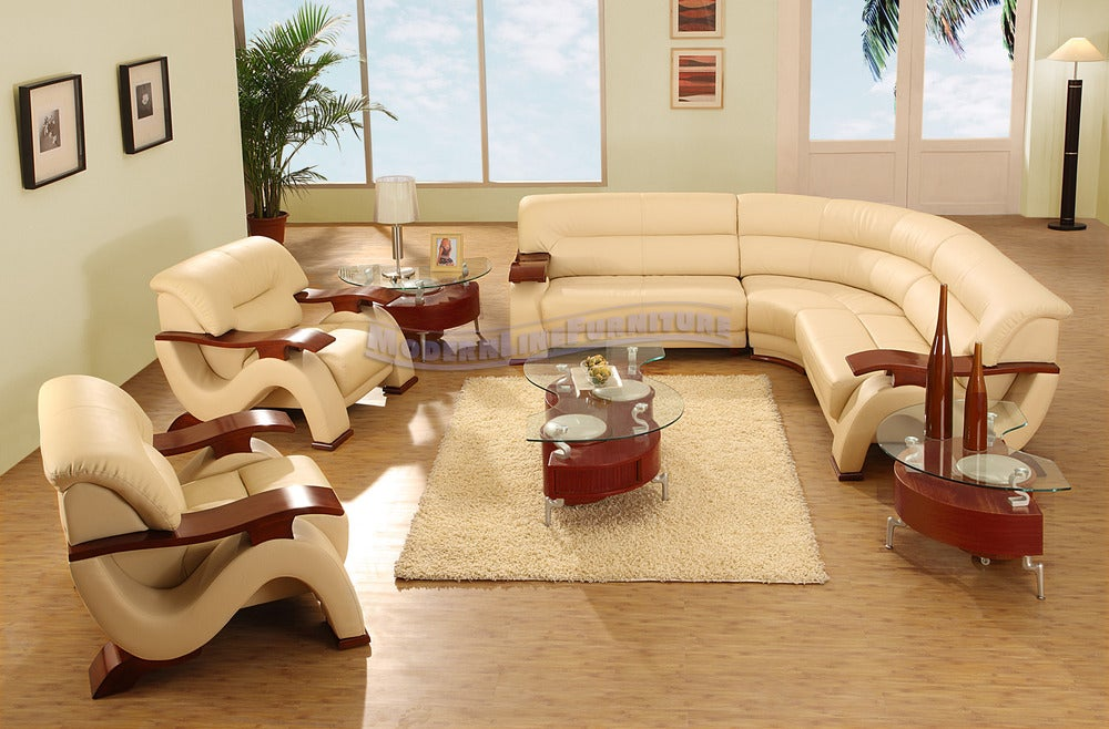 Image of Modern Beige leather sectional sofa w/ two chairs coffee table and two end : beige leather sectional - Sectionals, Sofas & Couches