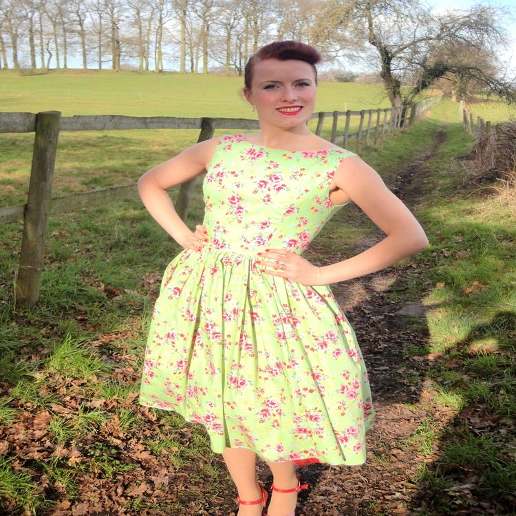 Vintage Inspired Clothing By Beatrice Winter 1950s Garden Party Dress Green