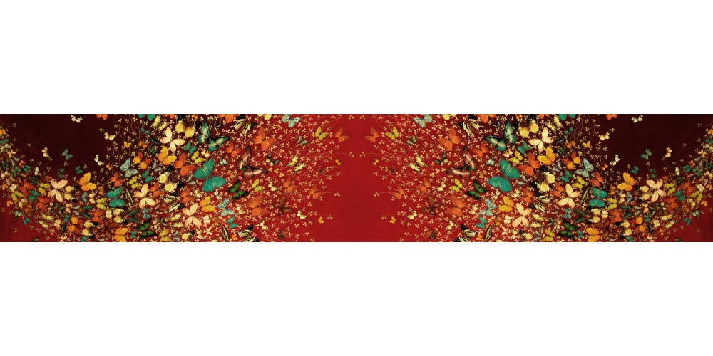 Image of Limited Edition Lily Greenwood 100% Silk Scarf - Butterflies on Red