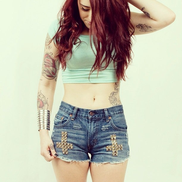 Image of Distressed St Peters Cross Studded Shorts