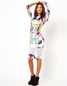 Image of Mesh Insert Bodycon Dress (1 in stock)