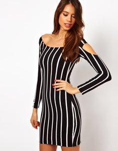 Image of 90's Dress with cold shoulder