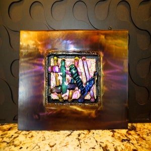 Image of DICHROIC GLASS AND STEEL WALL ART