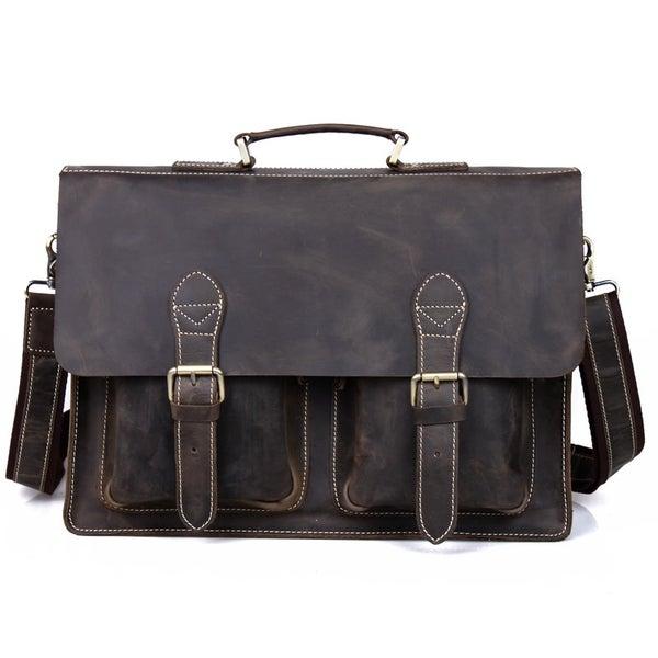 """Image of Vintage Handmade Crazy Horse Leather Briefcase Messenger 14"""" 15"""" Laptop 13"""" 15"""" MacBook Bag (n67-5)"""