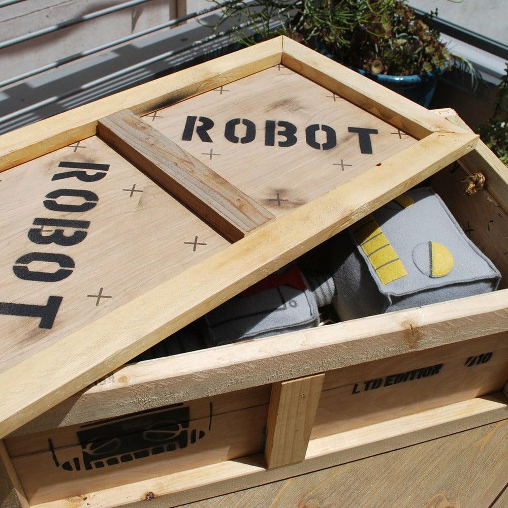 Robot Plush and Shipping Crate - Matt Q. Spangler Illustration