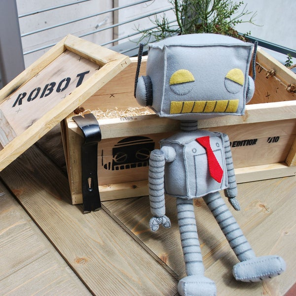 Robot Plush and Shipping Crate - Matt Q. Spangler Illustration