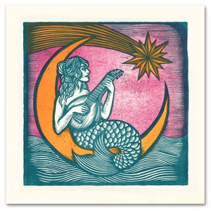 Image of MERMAYDE - Giant 3 color woodcut