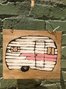 Image of Pink Striped Camper (on wood)