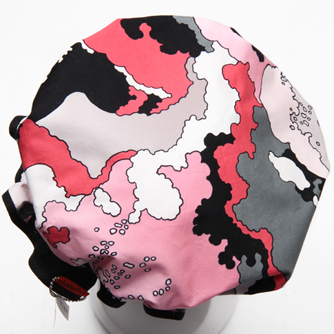 Image of Showercap white pink black and grey abstract - regular and big sizes