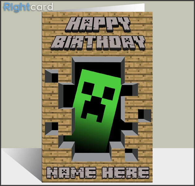 Delicate image intended for minecraft birthday card printable
