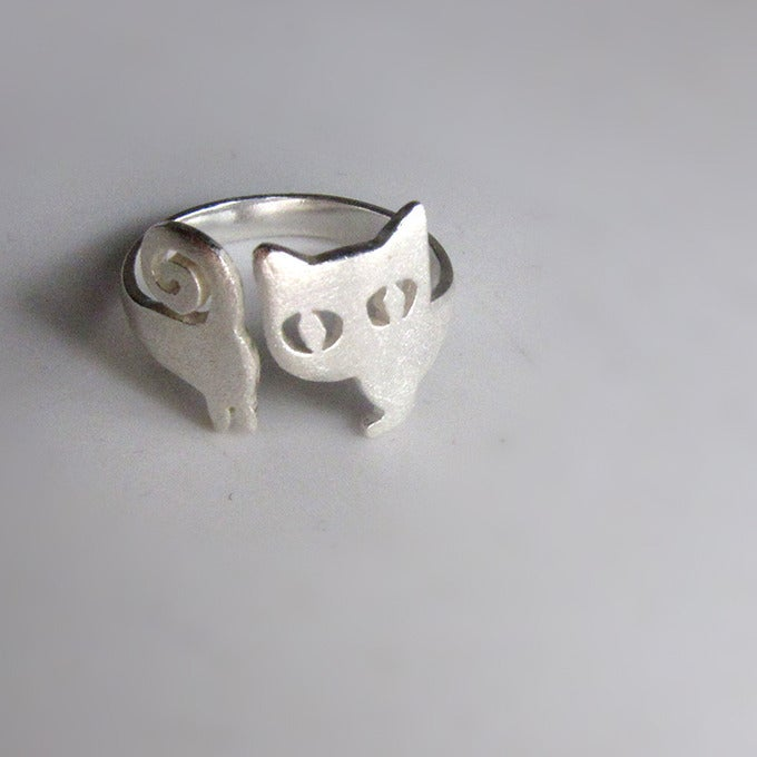 image of cat ring kitten silver ring handmade