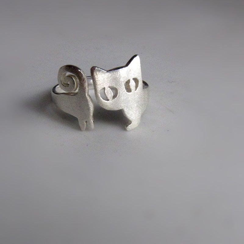 image of cat ring kitten silver ring handmade