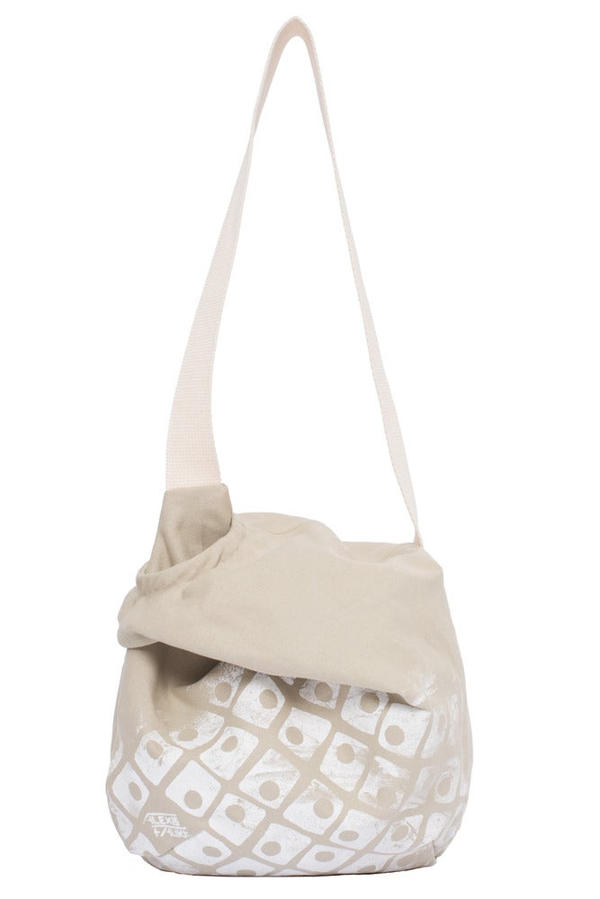 Image of sac besace en toile beige sérigraphiée (grand motif)