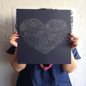 Image of Navy/Metallic Silver Pasta Heart Letterpress Print