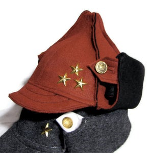 Image of Red and Black Hat hand-made from recycled felt