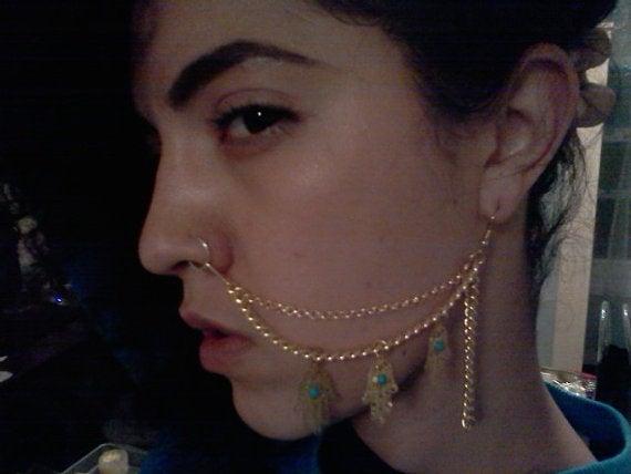 Image of Hamsa Nose-2-Ear Chain