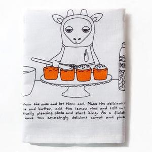 Image of Gina the Giraffe's Marvellous Carrot and Pineapple Cupcakes - Tea Towel