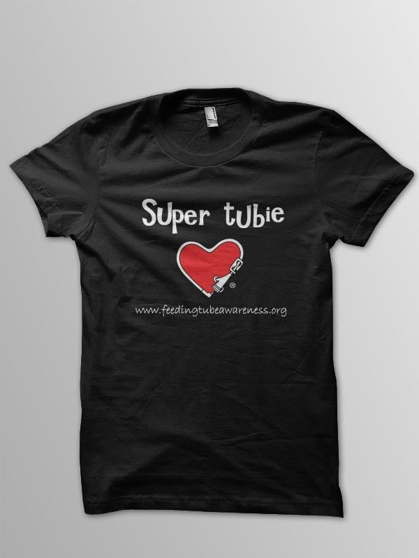 Feeding Tube Awareness Apparel  Super Tubie T-Shirt - Black-8010