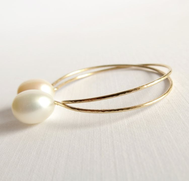 Image of White pearl hoop earrings - Momi Hoops
