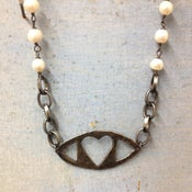Image of Evil Eye Heart Pendant with Pearl Chain