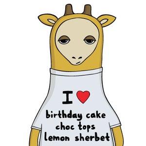 Image of I heart birthday cake, choc tops and lemon sherbet - Birthday Card
