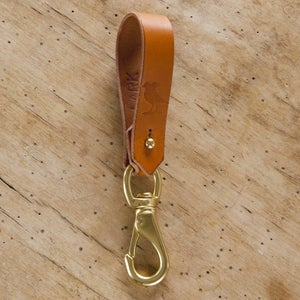 Image of Tan Belt Leather Lanyard with Lever Snap