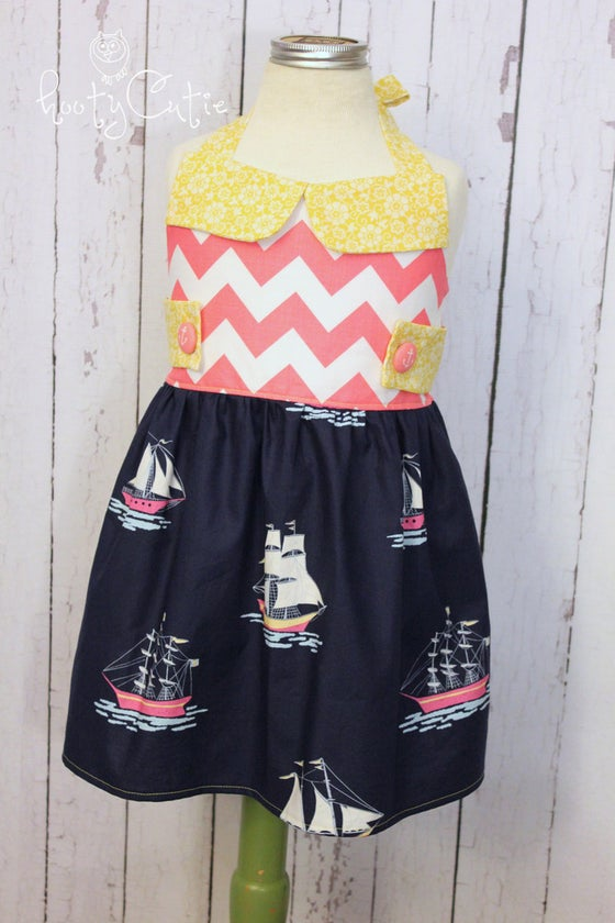 Image of Happy Sailing Days Dress - Button Tab Version