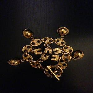 Image of Vintage Celine Gold Chunky Globe & Arc De Triomphe Charm Bracelet
