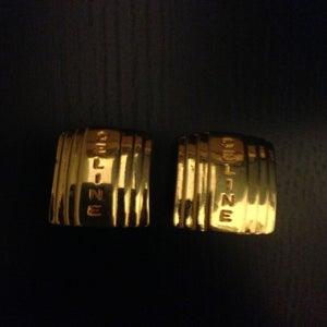 Image of Vintage Celine Gold Script Rectangular Clip-On Earrings